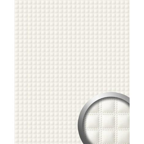 Revêtement mural de design auto-adhésif WallFace 15175 QUADRO simili cuir capitonné effet de coutures blanc 2,60 m2