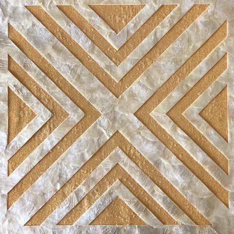 Revêtement mural de luxe coquille WallFace LU01-12 CAPIZ Jeu de carreaux décoratifs faits à la main avec des vraies coquilles et perles de verre optique nacré blanc crème brun-doré 2,40 m2