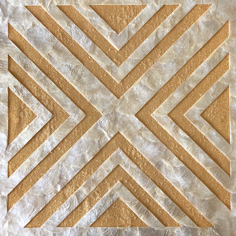 Revêtement mural de luxe coquille WallFace LU01-5 CAPIZ Ensemble de carreaux décoratifs fabriqués à la main avec des vraies coquilles et des perles de verre optique nacré blanc crème brun-doré 1 m2