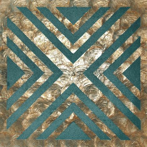 Revêtement mural de luxe coquille WallFace LU010-5 CAPIZ Ensemble de carreaux décoratifs fabriqués à la main avec des vraies coquilles et des perles de verre optique nacré bronze bleu-vert beige 1 m2
