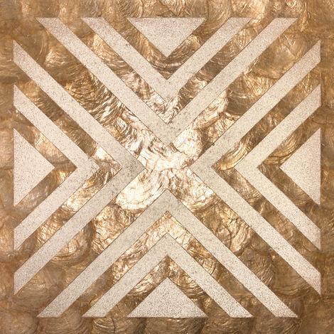 Revêtement mural de luxe coquille WallFace LU04-12 CAPIZ Jeu de carreaux décoratifs faits à la main avec des vraies coquilles et perles de verre optique nacré beige marron bronze 2,40 m2
