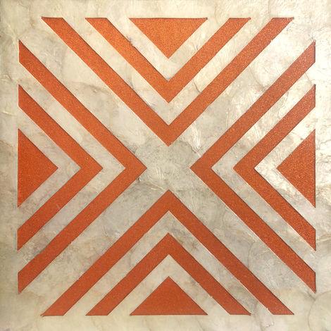 Revêtement mural de luxe coquille WallFace LU05-5 CAPIZ Ensemble de carreaux décoratifs fabriqués à la main avec des vraies coquilles et des perles de verre optique nacré crème blanc orange 1 m2