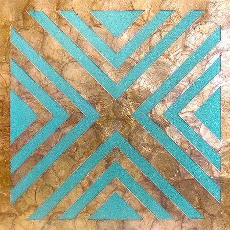 Revêtement mural de luxe coquille WallFace LU06-12 CAPIZ Jeu de carreaux décoratifs faits à la main avec des vraies coquilles et perles de verre optique nacré beige turquoise bronze 2,40 m2