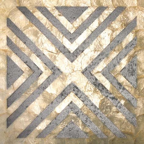 Revêtement mural de luxe coquille WallFace LU07-5 CAPIZ Ensemble de carreaux décoratifs fabriqués à la main avec des vraies coquilles et des perles de verre optique nacré crème argent gris 1 m2