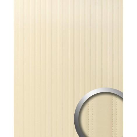 Revêtement mural de luxe WallFace 18602 Panneau mural autoadhésif Dessin cuir matelassé en rayures similicuir capitonné crème beige 2,60 m2