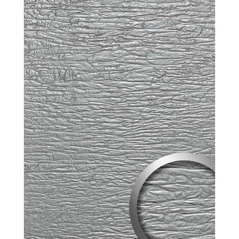 Revêtement mural used look WallFace 19346 CRASHED MIRROR Panneau décoratif gaufré d'aspect métal brillant auto-adhésif argent 2,6 m2
