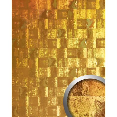 Revêtement mural vintage WallFace 19020 LUXURY HOLOGRAFICO Panneau décoratif lisse d'aspect métal holographique auto-adhésif or 2,6 m2