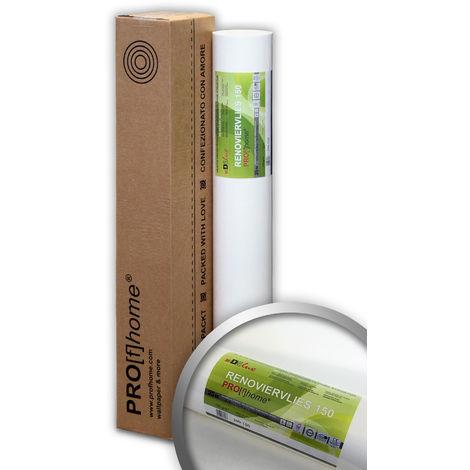 Revêtement non-tissé de lissage 150 g Profhome 399-150 intissé de rénovation murale professionnel Papier peint intissé blanc| 1 rouleau 18,75 m2