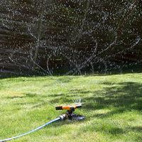 Revolving Garden Lawn Sprinkler With Adjustable Nozzles On Slad Base - White Line