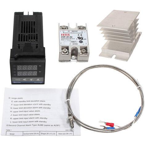 REX-C100FK02-V * AN Controlador de temperatura inteligente, Salida SSR + SSR-40 DA + Termopar de sonda K + Disipador de calor