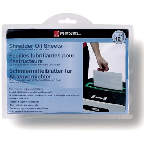 Rexel Hojas de aceite para trituradora 12 unidades