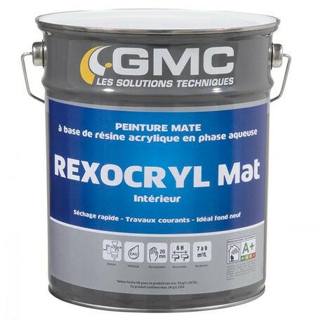REXOCRYL BLANC MAT 15L -Peinture mate acrylique idéale fonds neufs.-GMC