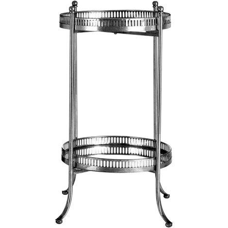 Reza Mirrored Tray Table, Antique Silver Finish, 2 Tiers