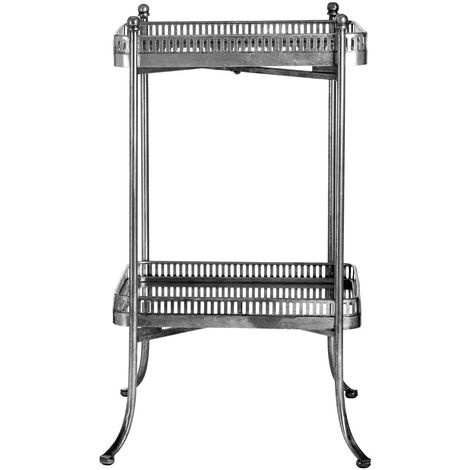 Reza Mirrored Tray Table Shubby Chic, Antique Silver Finish, 2 Tiers