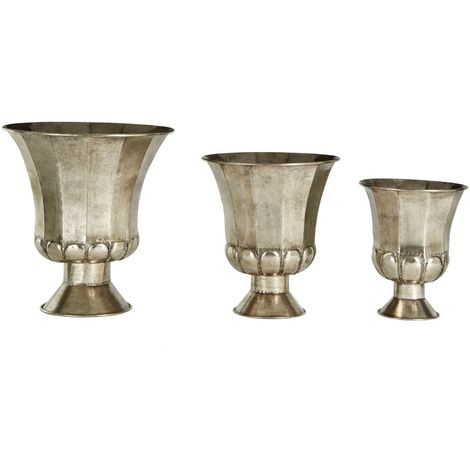 Reza Oversized Planters, Antique Silver Finish, Set of 3
