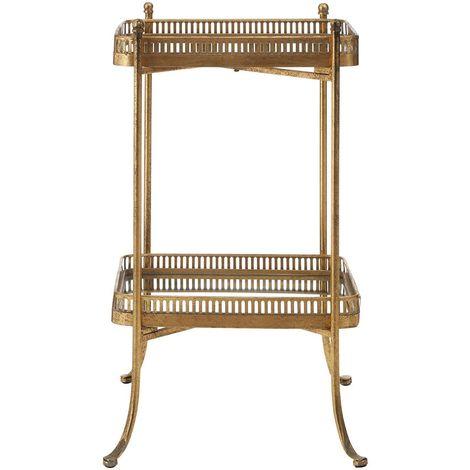 Reza Tray Table, 2 Tiers, Mirrored Tray