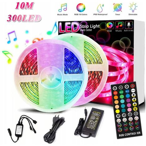 RGB 10m colored waterproof light bar with 300 lights + controller 40 keys + adapter 5a