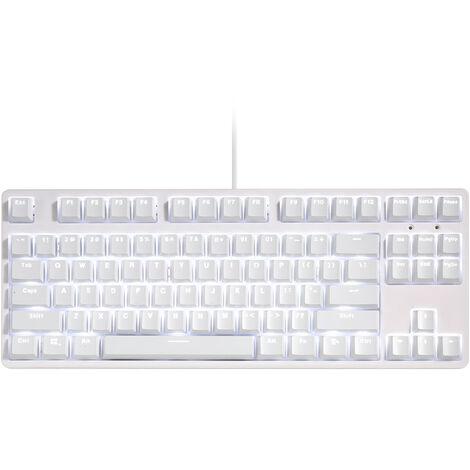 RGB Backlit Cl¨¦ m¨¦canique N-Key Rollover / Bleu Commutateur / Macro Enregistrement Touches / Cadre d¨¦tachable / R¨¦glable Hauteur Blanc, blanc