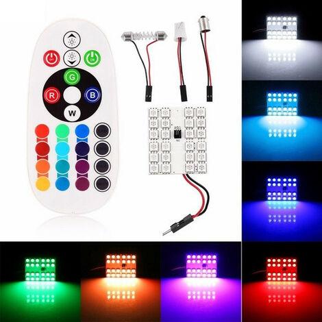RGB LED 24 SMD 5050 Ampoule Voiture Dome Lecture + Télécommande