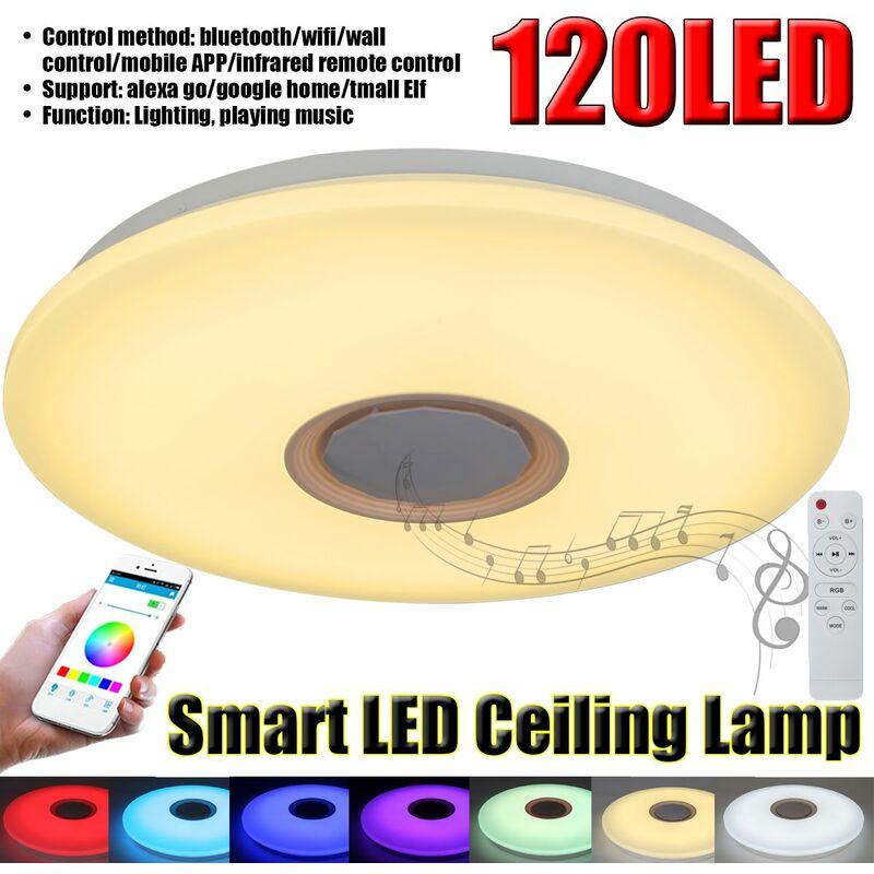 RGB LED bluetooth jouer musique plafonnier dimmable APP télécommande vocale intelligente