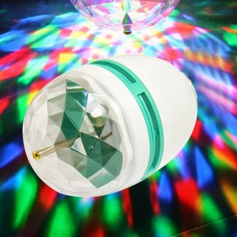 Rgb led bombilla de lámpara 3w e27 giratoria juego multicolor disco light