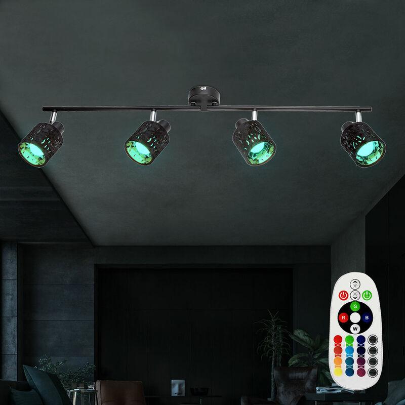 Etc-shop - Decken Strahler beweglich Samt Spot Lampe dimmbar FERNBEDIENUNG im Set inkl. RGB LED Leuchtmittel