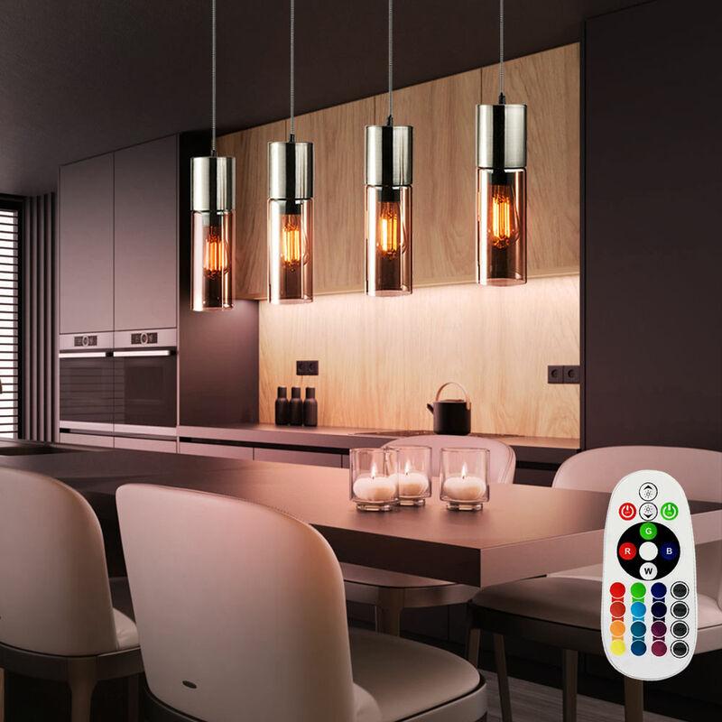 Etc-shop - Pendel Leuchte Ess Zimmer Glas Zylinder Strahler FERNBEDIENUNG im Set inkl. RGB LED Leuchtmittel