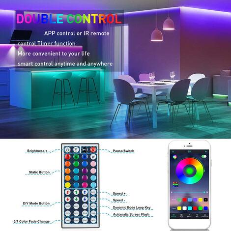 RGB LED luces de tira 10M 300LEDs 5050RGB luz de tira IP65 cinta impermeable del LED Control de APP Luz Brillo ajustable funcion de temporizacion para la fiesta de Navidad Barra de decoracion del hogar, UE-10M