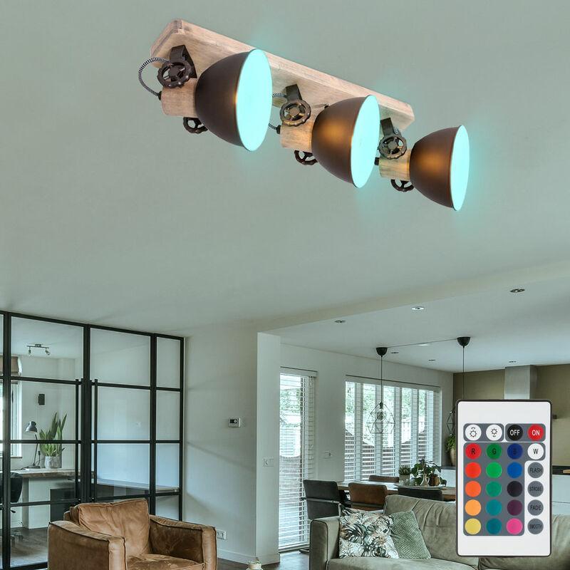 Etc-shop - Retro Decken Leuchte Strahler dimmbar Fernbedienung Lampe drehbar im Set inkl. RGB LED Leuchtmittel