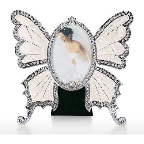 Rhinestone Decorated Ellipse Scalewing Design Vintage Metal Photo Frame,White,M