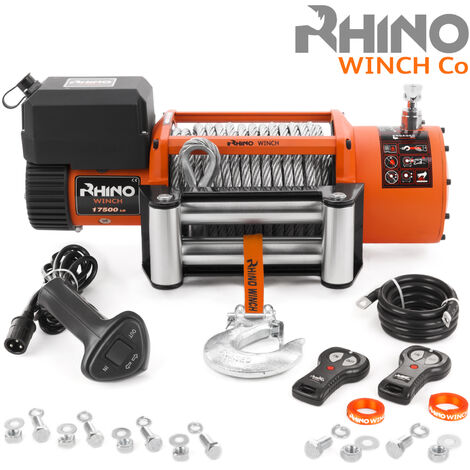 Rhino 12v, 17,500lb / 7940Kg Electric Recovery Winch Heavy Duty Steel Cable - Two Wireless Remotes