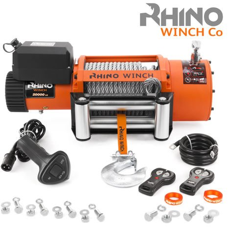 Rhino 12v, 20,000lb / 9071Kg Electric Recovery Winch Heavy Duty Steel Cable - Two Wireless Remotes