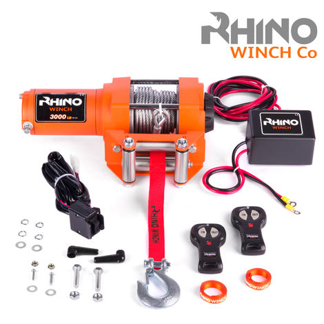 Rhino 12v, 3,000lb / 1360Kg Electric Recovery Winch Heavy Duty Steel Cable - Two Wireless Remotes