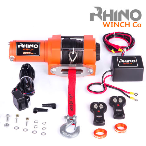 Rhino 12v, 3,000lb / 1360Kg Electric Recovery Winch Heavy Duty Synthetic Rope - Two Wireless Remotes