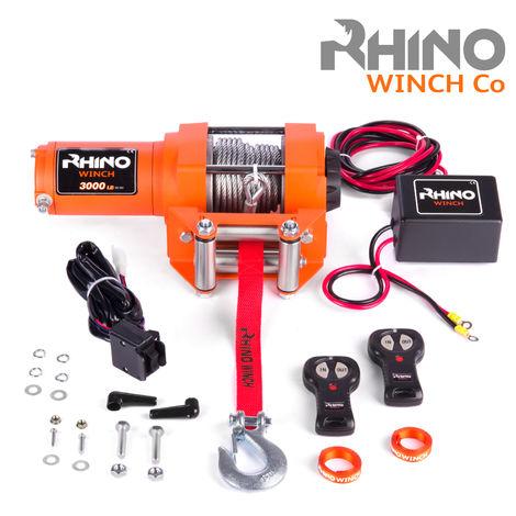 Rhino 12V 3000lb / 1360kg Elektrische Seilwinde Stahl mit Fernbedienung und Mobilteil