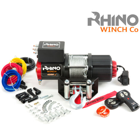 Rhino 12v, 4,500lb / 2040Kg Electric Recovery Winch Heavy Duty Steel Cable - Two Wireless Remotes