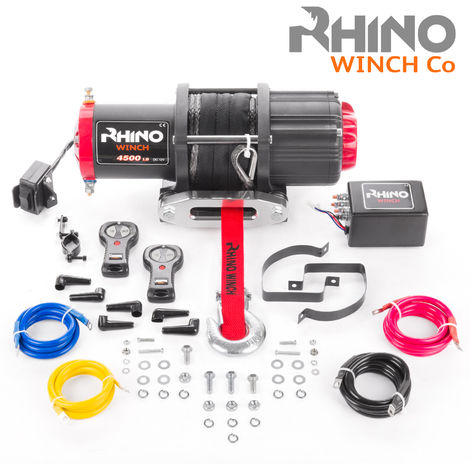 Rhino 12v, 4,500lb / 2040Kg Electric Recovery Winch Heavy Duty Synthetic Rope - Two Wireless Remotes
