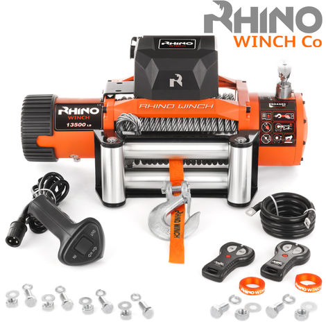 Rhino 24v, 13,500lb / 6125Kg Electric Recovery Winch Heavy Duty Steel Cable - Two Wireless Remotes