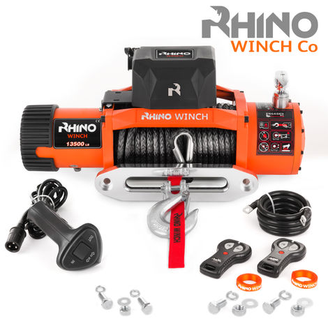 Rhino 24v, 13,500lb / 6125Kg Electric Recovery Winch Heavy Duty Synthetic Rope - Two Wireless Remotes