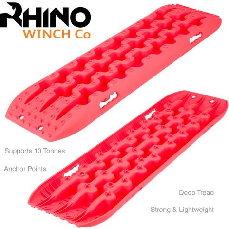 Rhino - 4 x 4 Pistes de Restauration 10T Off Road Traction Bridging Planches Sable / Boue / Neige (Rouge)