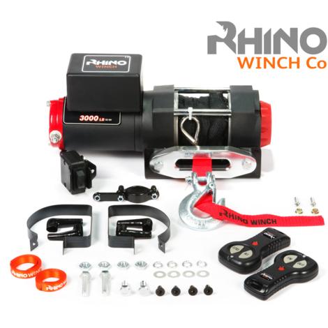 Rhino - Cabrestante Eléctrico con Sistema Inalámbrico de 12V - Para 3000 lb / 1360 kg - Cable de Dyneema sintético (Negro)