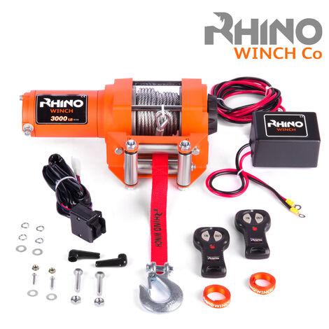 Rhino - Cabrestante Eléctrico con Sistema Inalámbrico de 12V - Para 3000 lb / 1360 kg con Cable de Acero (Naranja)