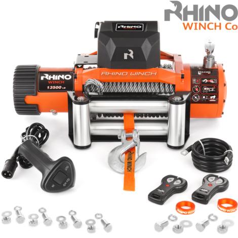 Rhino - Cabrestante Eléctrico de Recuperación con Sistema Inalámbrico de 12 V y Cable de Acero para 13 500 LB / 6125 kg