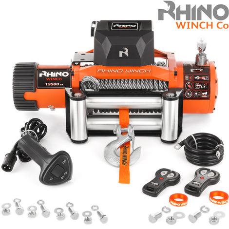 Rhino - Cabrestante Eléctrico de Recuperación con Sistema Inalámbrico de 24 V y Cable de Acero para 13 500 LB / 6125 kg