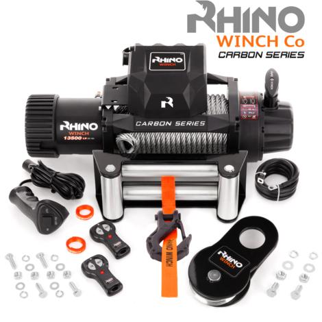 Rhino - Cabrestante Eléctrico de Recuperación Nueva Serie de Carbono con Sistema Inalámbrico de 12 V y Cable de Acero para 13 500 LB / 6125 kg