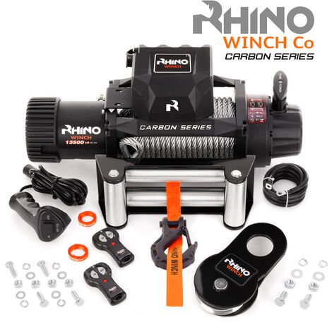 Rhino - Electric Recovery Winch Heavy Duty 12v, 13,500lb / 6125Kg Carbon Series - Two Wireless Remotes - Steel Cable