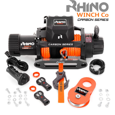 Rhino - Electric Recovery Winch Heavy Duty 12v, 13,500lb / 6125Kg Carbon Series - Two Wireless Remotes - Synthetic Rope