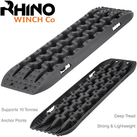 Rhino - Recovery Tracks, 4x4 10t Off Road Traction Boards Sand / Mud / Snow (Black)