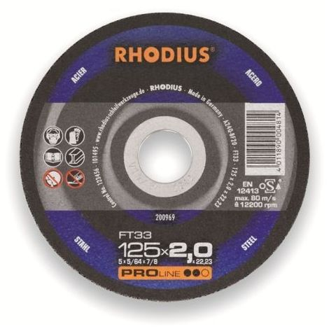 Rhodius Trennscheibe ProLine FTK 33 115 x 3,0 x 22,23, für Stahl