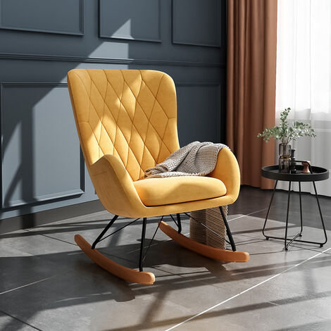 Rhombus Linen Rocking Chair Armchair With Pocket